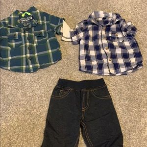 3 month boy baby bundle - jeans flannel plaid